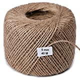 VITA PERFETTA Schnur Seil, Jute, Jute-Schnur natur für Handwerk, Geschenke, Arts und Handwerk Basteln, Dekoration, Gartengeräten und Recycling (40Meter)