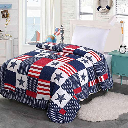 Alicemall Tagesdecke Baumwolle Doppelbett Jungen Steppdecke Angenehm Atmungsaktive Bettwäsche Sommerdecke Bettdecke 150 x 200 cm