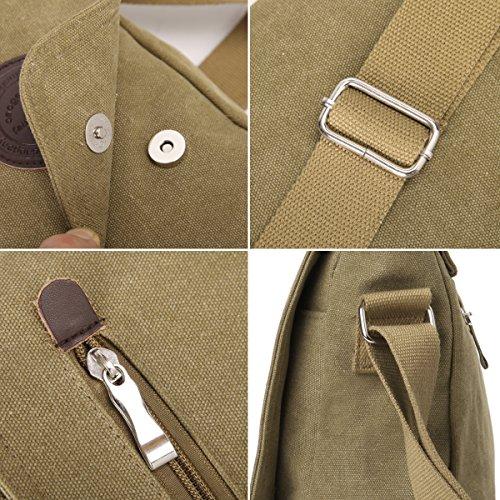 Eshow Herren Canvas Freizeit Täglich Umhängetasche Schultertasche Taschen Retro Messenger Bag 14 Zoll Laptop Geeign, Schwarz Khaki 1