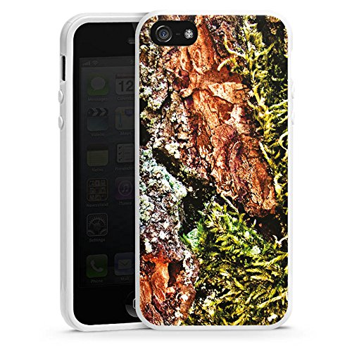 Apple iPhone 4 Housse Étui Silicone Coque Protection Écorce Bois Marais marécage mousse Housse en silicone blanc