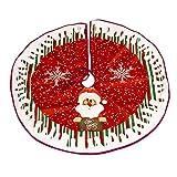 Prom-near Runde Nicht gewebt-Baumdecke - Schutz vor Tannennadeln - Tannenbaum-Unterlage mit Weihnachtsmotiv - Rot, weiß