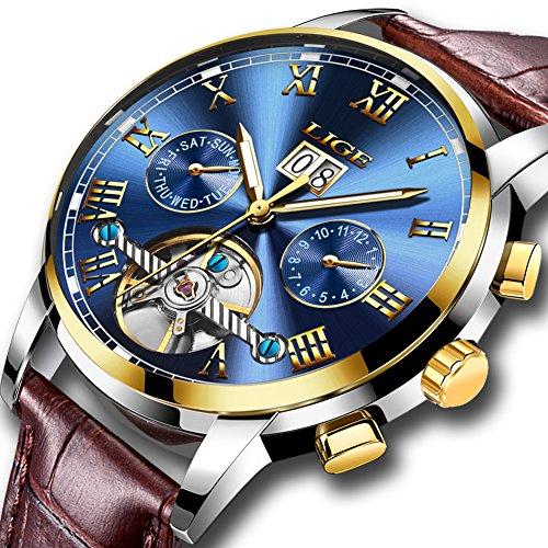 Herren Uhren Automatische Mechanische Wasserdichte Leder Uhr Männer LIGE Luxusmarke Business Armbanduhr Datum Skeleton Tourbillon Uhr, Gold Blau