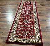 eRugs - Tappeto Classico Orientale Grande, con Motivo Floreale in Stile Persiano Tradizionale, 60 x 230 cm, Colore: Rosso
