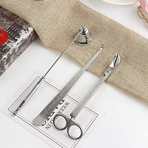 Juego de accesorios para velas con cortador de mecha, apagavelas y apagavelas de campana de acero inoxidable