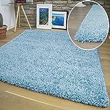 Shuja Teppich - Shaggy Hochflor Langflor Teppiche in versch. Farben & Größen: Blau 80x150