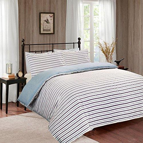 Garn gefärbt Streifen Muster Bettbezug Set, Baumwollmischung, Muster 10, Super King (Garn Super Streifen)