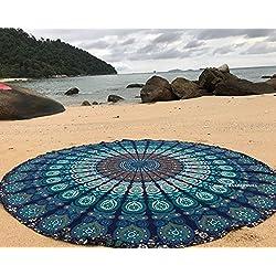 Raajase, Tappeto Rotondo Mandala in Stile Hippy, Utilizzabile Come copriletto, arazzo Decorativo, tovaglia, Telo da Mare, Pannello Decorativo, Tappeto per Yoga, Cotone, Blue, 70 inch (Mandala Blu)