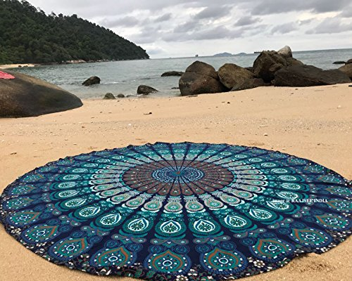raajsee Indien Strandtuch Rund Mandala Hippie/Groß Indisch Rundes Baumwolle/Boho Runder Yoga Matte Tuch Meditation/Tischdecke aufhänger Decke Picknick handgefertigt Teppich 70 inch (Blaues Mandala) (Runder Rock Tisch)