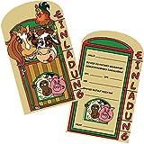 6 Einladungskarten * BAUERNHOF * für Kindergeburtstag oder Party von DEKOSPASS // Kinder Geburtstag Party Kinderparty Einladung Einladungen Karte Einladungs-Set Mottoparty Farm Tiere