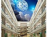 Mznm Fototapete, 3D-Deckenbild, HD-Fantasie, Erde, Nachthimmel, Decke, Wandbild für Wohnzimmer, Wohnzimmer, Gemälde, Dekor 200x140cm