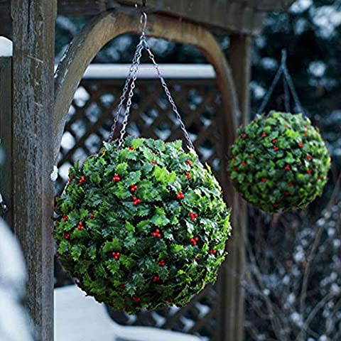 2 Best Artificial (TM) 28cm Holly Balls Christmas Topiary Xmas Hanging Basket Outdoor