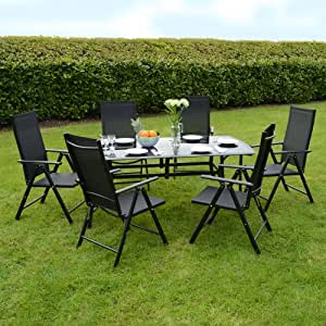 Valencia Aluminium / Glass Black Modern Garden Dining Furniture Table & Chairs