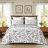 Unimall 4312293 Tagesdecke 230x250 cm Baumwolle Sofaüberwurf pflegeleicht Motiv: Singend Vögel im Wand