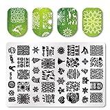 Modèle de timbre carré Nail Art créative plaque d'impression motif floral de Noël Noël pour pochoir manucure - vert