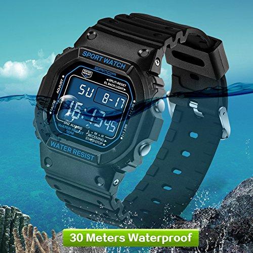 ShowkingL Mode Männer LED Digital Datum Alarm Wasserdicht Sport Military Rubber Quartz Watch Lieben