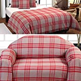 Homescapes Medium Grey & Red Tartan Throw 60 x 80 Inches or 152cm x 203cm, 100% Cotton Sofa throw for Most 2 Seater Settees and Sofas