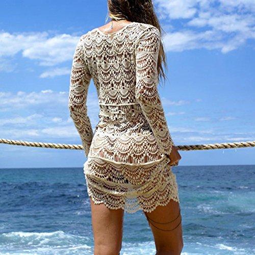 Dooxi Donna Estivo Uncinetto Hollow Out Spiaggia Abito Elegante Protezione Solare Manica Lunga Abiti Bianca