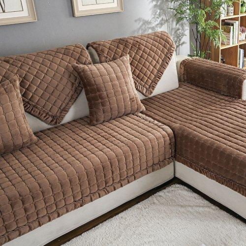 DW&HX Flanell Sofa slipcover möbel protector für hund,3 sitze Gesteppter Volltonfarbe Verdicken sie Sofaüberwurf Anti-rutsch-A 35x71inch(90x180cm)
