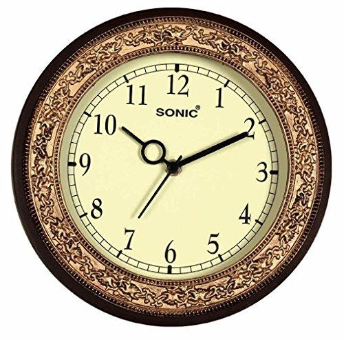 Bella SONIC Brown round Plastic Analogue wall clock Bella SONIC Brown round Plastic Analogue wall clock 61 2BZydvvKoL