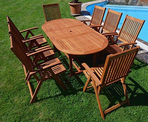 Edle Gartengarnitur Terassengarnitur Gartenset Gartenmöbel Holz Eukalyptus mit Ausziehtisch 140-180x100cm + 8 Hochlehner 7-fach verstellbar 'LIMA180-6EU-SET' von AS-S - 9