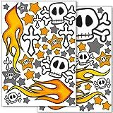 Wandkings Totenkopf und Flammen Wandsticker Set, 70 Aufkleber, 2 DIN A4 Bögen, Gesamtfläche 60 x 20 cm