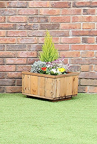 STAFFORDSHIRE GARDEN FURNITURE WOODEN MEDIUM SIZED RECTANGULAR PLANTER PLANT POT TROUGH CONTAINER FULLY ASSEMBLED