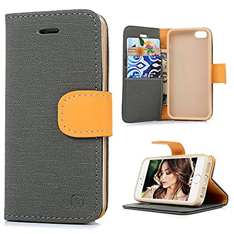 iPhone SE Case,iPhone 5 & 5S Case, YOKIRIN Premium Soft PU Leather Notebook Wallet Cover Case with [Kickstand] Credit Card ID Slot Holder Magnetic Closure Design Folio Flip Protective Slim Skin Cover for iPhone SE & 5 & 5S, Gray