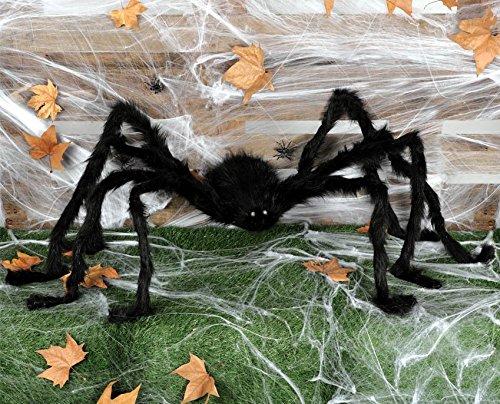 Guirca Halloween Schwarze Riesen Spinne mit leuchtenden Augen Deko Horror 25 cm Körper (Riesen Ratte Kostüm)