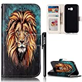 BtDuck Leather Case for Samsung Galaxy A5 2017 Embossed Oil Painting Male Lion Powerful Eyes King Style ( Give a gift to the leader ) Stand Painted pattern Phone Protector PU Leather Flip Folio Cover Anti-slip Skin Outdoor Protection Simple Strict Shockproof Heavy Duty Robust Bumper Case Shell with Stander Oyster Card ( Travel Card Bus Pass)Holder Slots Pocket Kickstand Function Magnetic Closure + 1 * Black Stylus Pen Black Look Up Put down the phone