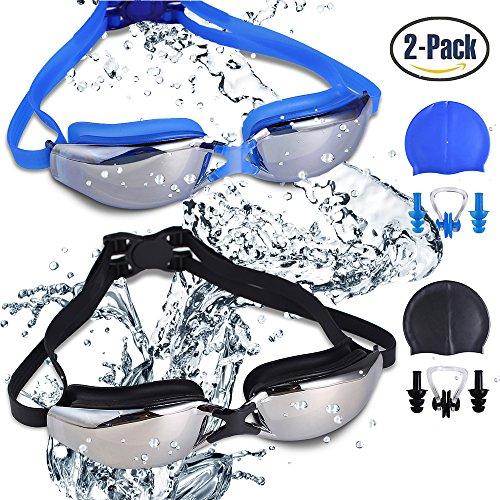 Paquete de 2 gafas de natación, libre de fugas protección UV gafas de natación anti-niebla con correa de hombro ajustable para adultos unisex-gentes, con gorro de natación, clips de nariz, tapones para los oídos