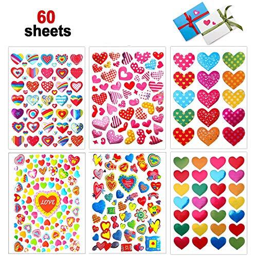 Dream Loom Valentines Herz Aufkleber, 60 Blatt Bunte Valentinstag Liebe Dekorative Aufkleber für Jubiläen, Party, Hochzeit (Bunt)