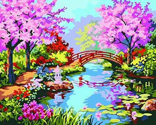 Preisvergleich Produktbild IPLST@ Kein Rahmen Digitale Ölgemälde durch Zahlen, moderne Landschaftswandaufkleber Blossom Cherry Love Fantasie Ölgemälde auf Leinwand, DIY Ölgemälde Kits-16x20inch