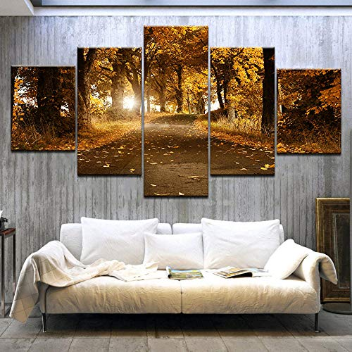 Yyjyxd Kunst Poster HD Print Decor 5 Stücke Sonnenschein Herbst Gelb Wald Landschaft Gemälderahmen Modulare Bilder Leinwand Moderne Raumwand-4x6/8/10inch,Without frame -