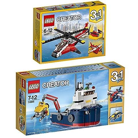 Lego Creator 3-in-1 2er Set 31045 31057 Erforscher der Meere + Helikopter