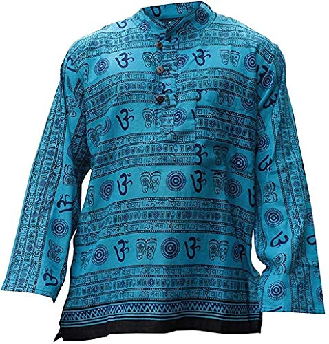 Shopoholic Mode Herren Om Aufdruck Hippie Großvater Shirt - Türkis, Large