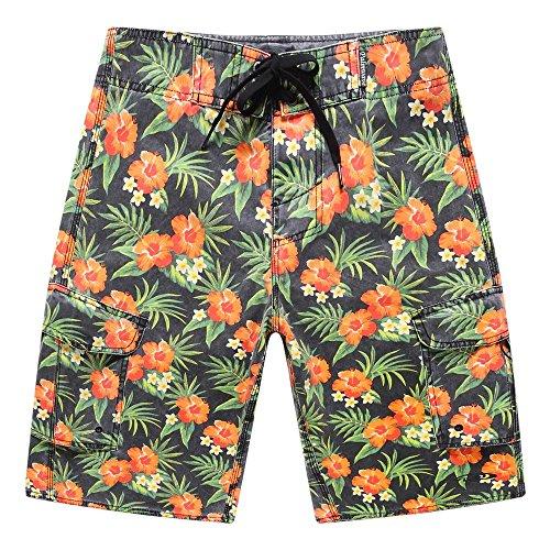 Hombres-Ropa-de-playa-Pantalones-cortos-con-bolsillo-en-Stone-Wash-Flores-anaranjadas-del-vintage-42