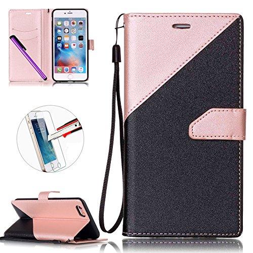 iPhone 6Plus/6S Plus 14cm avec Bumper plaqué, newstars 3en 1Coque antichoc ultra fine Texture PC Coque arrière de protection rigide Shell Housse Coque protection tous les rond pour iPhone 6Plus/6 P- Pink + Black