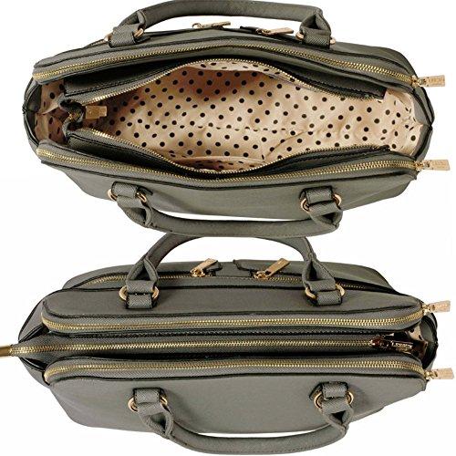 nett LeahWard® Handtaschen 250 Tragetaschen Tasche Fächer 3 Grau Berühmtheit Damen Groß Stil SqIq6g