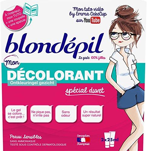 Blondépil 100% Fille Mon Gel Décolorant sans Ammoniaque pour Visage 2 x 25 ml