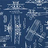 blauer 'Vintage Blueprints' Flugzeug Plan Blaupausen Stoff