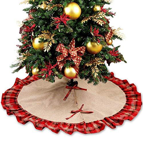 Weihnachtsbaumdecke, Imitation Leinen Plaid Weihnachtsbaum Rock Weihnachten
