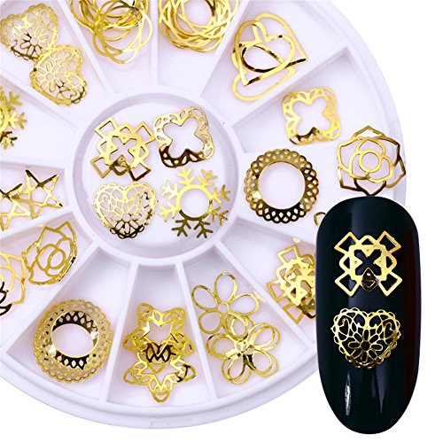 Born Pretty 1Box Heart Star Round Pattern Stud Gold Alloy Rivet Maincure DIY Nail Art Decoration in Wheel