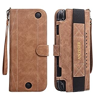 Nintendo Switch Case Travel Carrying Flip Multi-function Wallet With Screen Protector Card Slot Magnetic Closure Wrist Strap - Brown