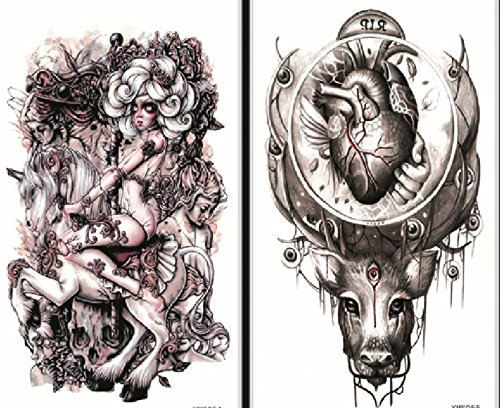 GGSELL GGSELL wasserdicht und nicht toxisch 2pcs temporäre Tattoos in einem Paket, es ist auch Teufel, Engel mit Pferd, Herz mit Kopf temporäre Tattoos