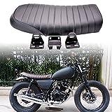 KaTur Universal Motorrad Flache Vintage Sitzkissen Sattel für Hon da CB125S CB550 CL350 450 CB CL Retro Cafe Racer Schwarz