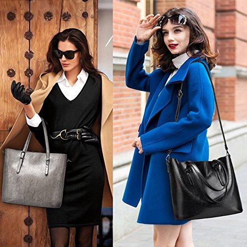 Nero Borse a mano Borsa donna Borse donna grandi Shopper Tote 2pcs Borsa Pochette Borgogna Borse