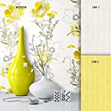 Tapete Edel Papiertapete Gelb Weiß Blumen , schönes Floral Design und purer Luxus Effekt , moderne Natur Optik für Wohnzimmer, Schlafzimmer, Flur oder Küche inkl. Newroom Tapezier Profibroschüre mit super Tipps!