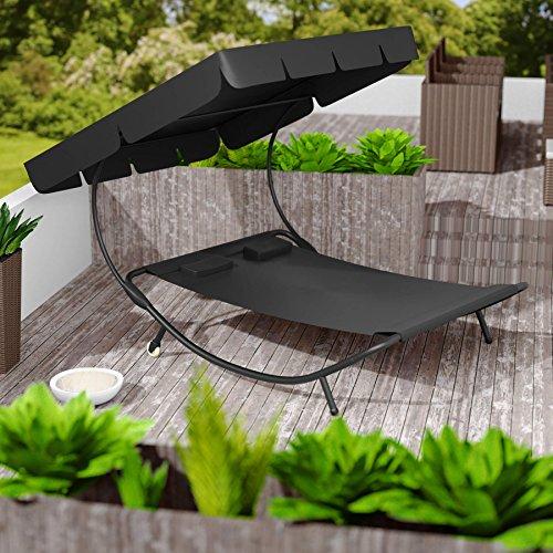 TecTake Sonnenliege Gartenliege Doppelliege mit Sonnendach + 2 Kissen | für 2 Personen | - diverse Farben - (Schwarz | Nr. 401495) - 4