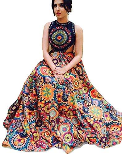 Salwar Style Women's Satin Banglori Silk Printed With Velvet (Red)