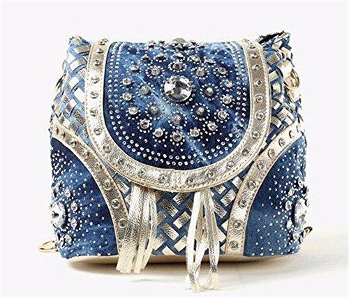 Women's Double Shoulder Bag fashion PU Leder Schultertasche mit gewebten Beutel Kette - Typ anheben gesäumte Beutel, 21 * 21 * 16 cm A